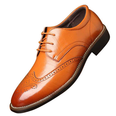 men's comfortable walking modern Leather Lace up Oxford dress casual shoes Tan