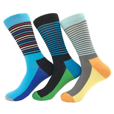 Comfortable happy colorful cotton dress  socks men's women's 3 PK - Amedeo Exclusive