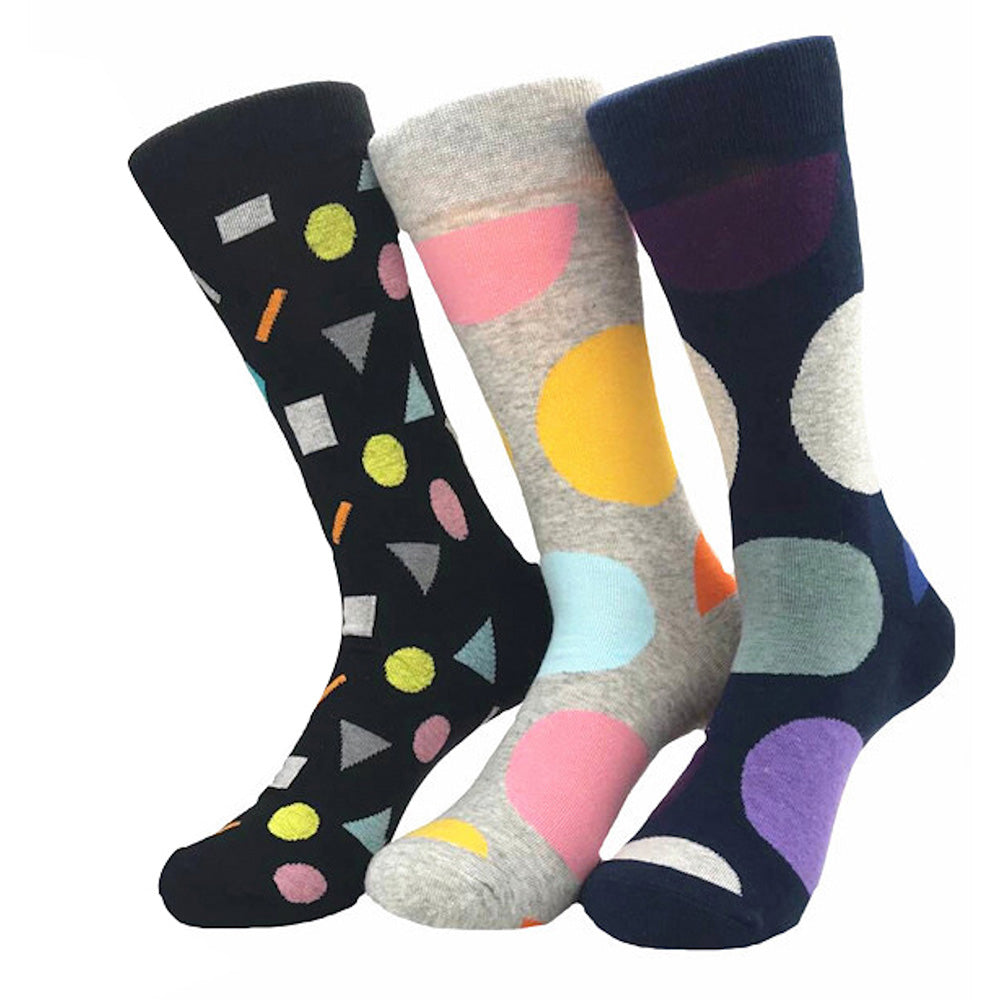 Men's New Ball Printed Design 3pk Assorted Bundle Soft Colorful Socks - Amedeo Exclusive
