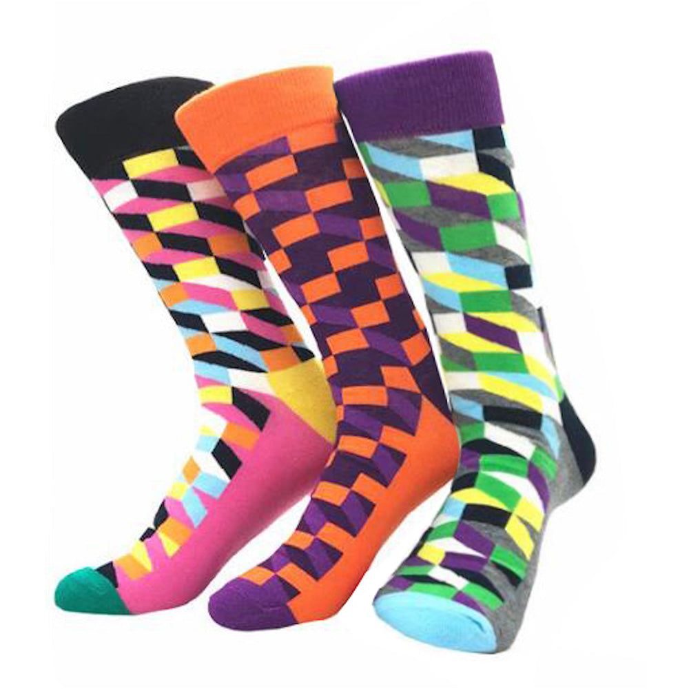 Men's Slack Printed Fit Colorful Sock Assorted Bundle 3pk Multicolor - Amedeo Exclusive