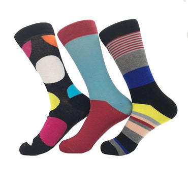 Men's Ball Printed Stripe Plain 3pk Assorted Bundle Soft Colorful Socks - Amedeo Exclusive