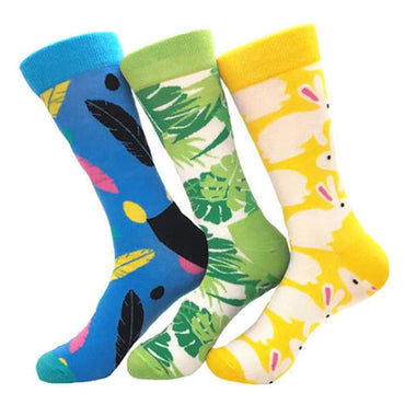 Men's Feather Leaf Rabbit Printed 3pk Assorted Bundle Colorful Socks - Amedeo Exclusive