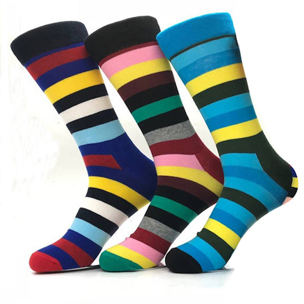 Men's Stripes Colorful Socks Assorted Bundle 3pk Multicolor - Amedeo Exclusive