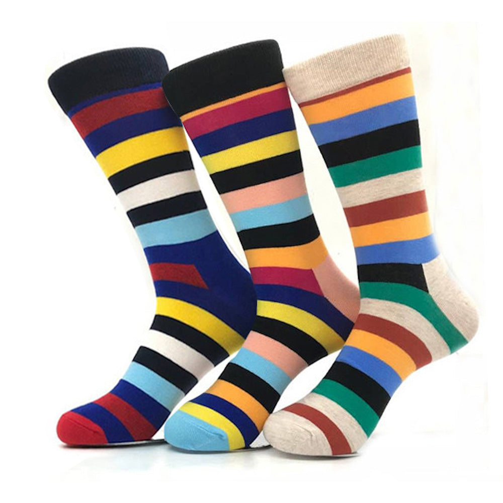 Men's Stripes Colorful Socks Assorted Bundle 3pk - Amedeo Exclusive