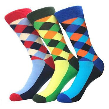 Amedeo Exclusive Men's Slack Printed Sock Assorted Bundle 3pk Multicolor