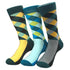 Pattern Mens Dress Socks - Premium Cotton formal socks with Soft Elastic - 3 Pack Bundle