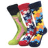 Puzzle Leaf Printed Mens Colorful Crew Socks - Premium Cotton Fun socks with Soft Elastic - 3 Pack
