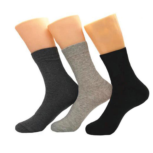 Amedeo Exclusive Men's Plain Three Color 3pk Assorted Bundle Soft Socks