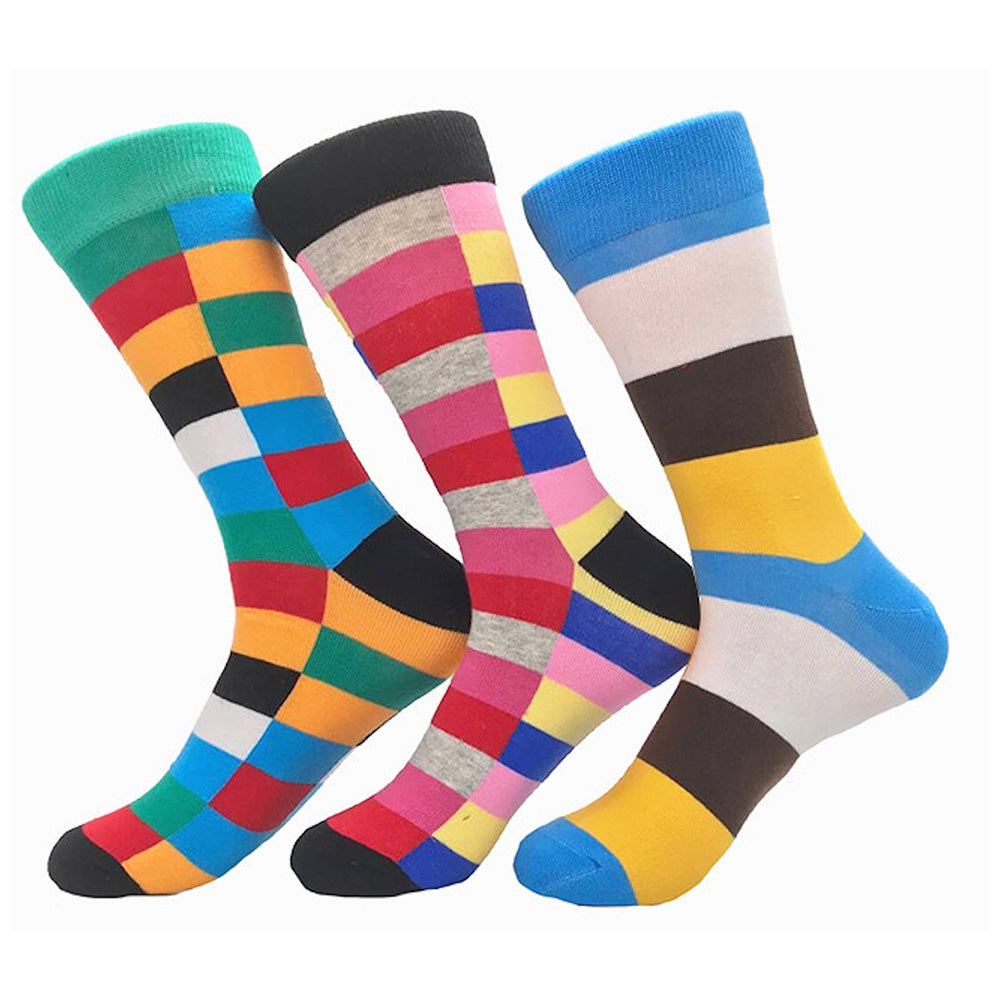 Men's Stripe Colorful 3pk Assorted Bundle Socks