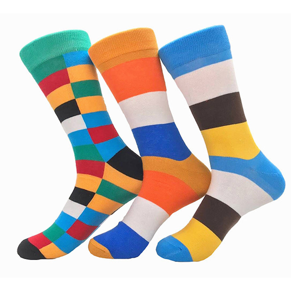 Men's Stripe 3pk Assorted Bundle  Colorful Socks - Amedeo Exclusive