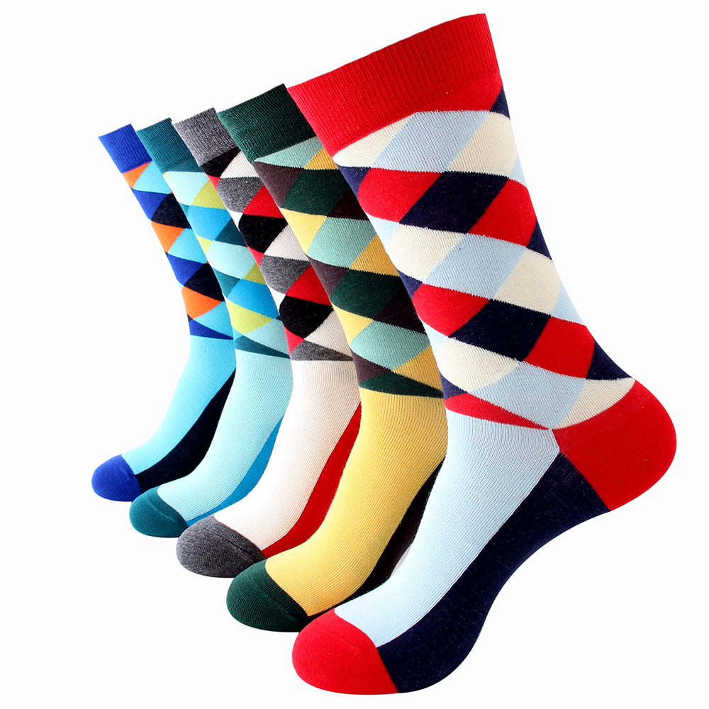 Men's Plain Five Color 5pk Assorted Bundle Soft Elastic Colorful Socks - Amedeo Exclusive
