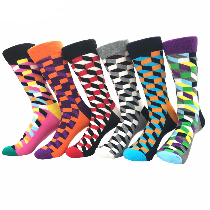 Men's Plain Six Color 6pk Assorted Bundle Soft Elastic Colorful Socks - Amedeo Exclusive