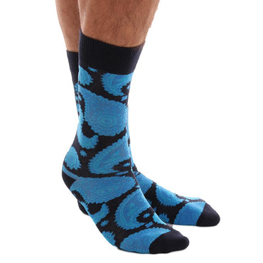 Blue Paisley Mens Colorful Crew Socks - Premium Cotton Fun socks with Soft Elastic - 3 Pack Bundle - Amedeo Exclusive