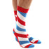 White Blue Red Stripe Mens Colorful Crew Socks - Premium Cotton Fun socks with Soft Elastic