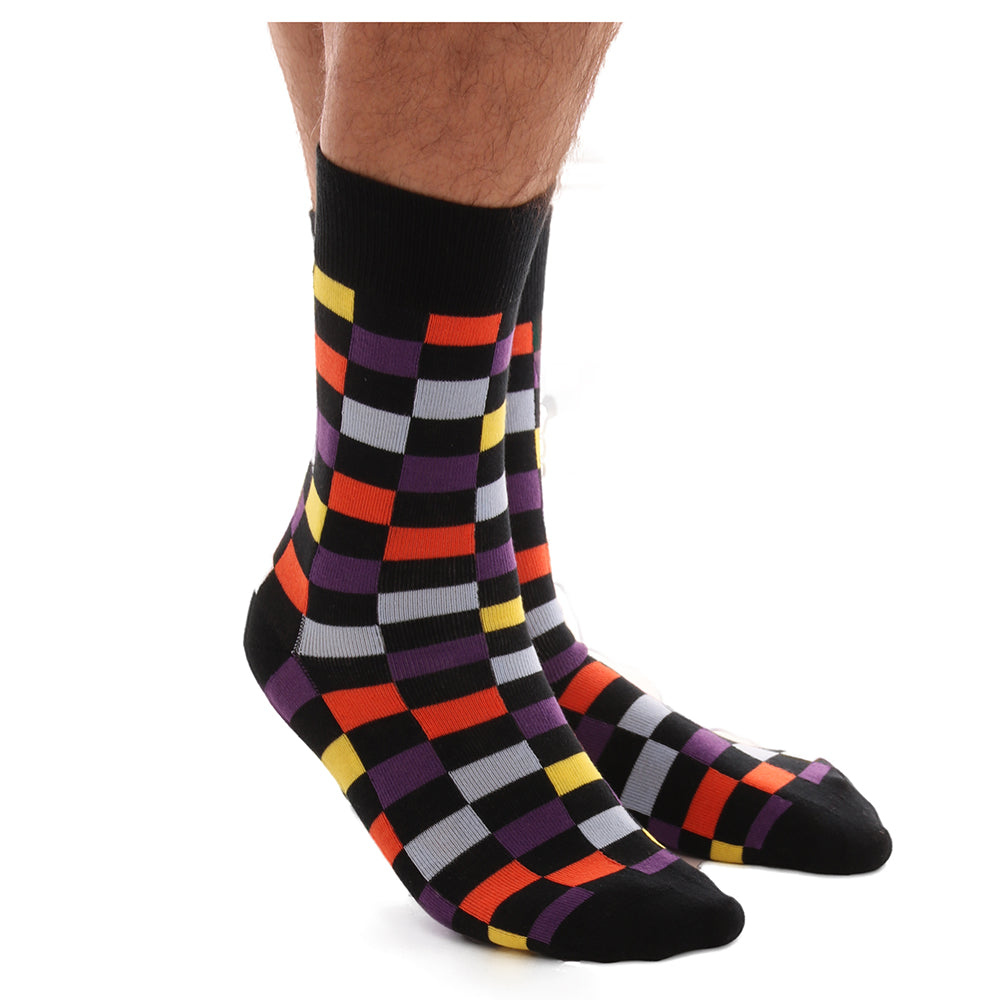 Men's Soft Multi Colored Check Stripe Socks