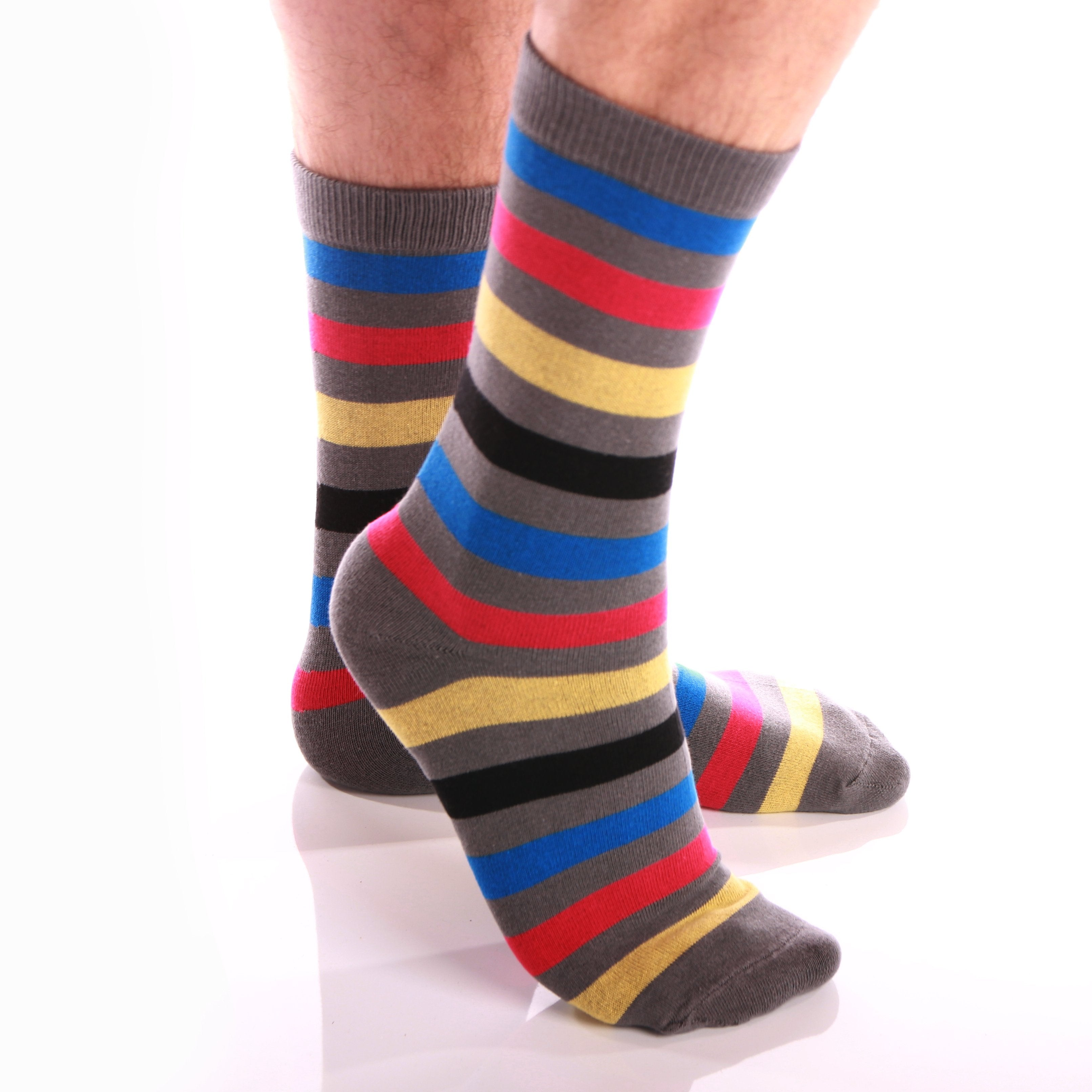 Amedeo Exclusive Men's Colorful Stripe Dark Grey Soft Socks - Amedeo Exclusive