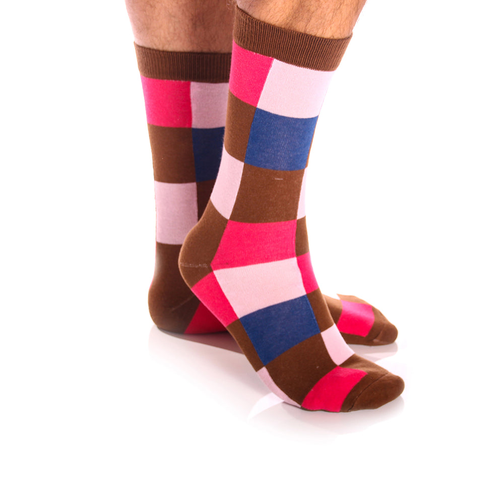 Amedeo Exclusive Men's Soft Cotton Pink Brown & Blue Squares silk Sock