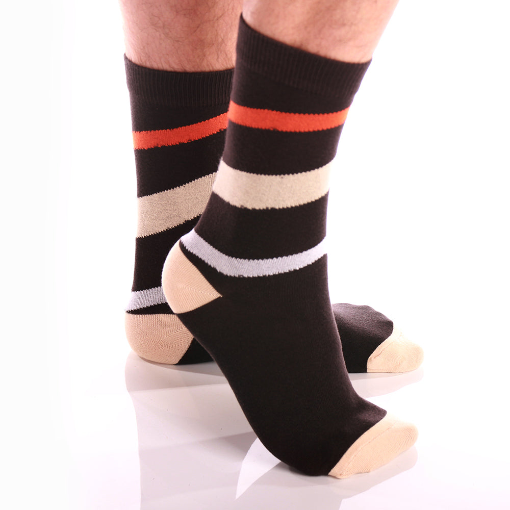 Soft Beige Lines Mens Colorful Crew Socks - Premium Cotton Fun socks with Soft Elastic - 3 Pack - Amedeo Exclusive