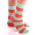 Men's Colorful Light Green & Orange Thick Lines Socks