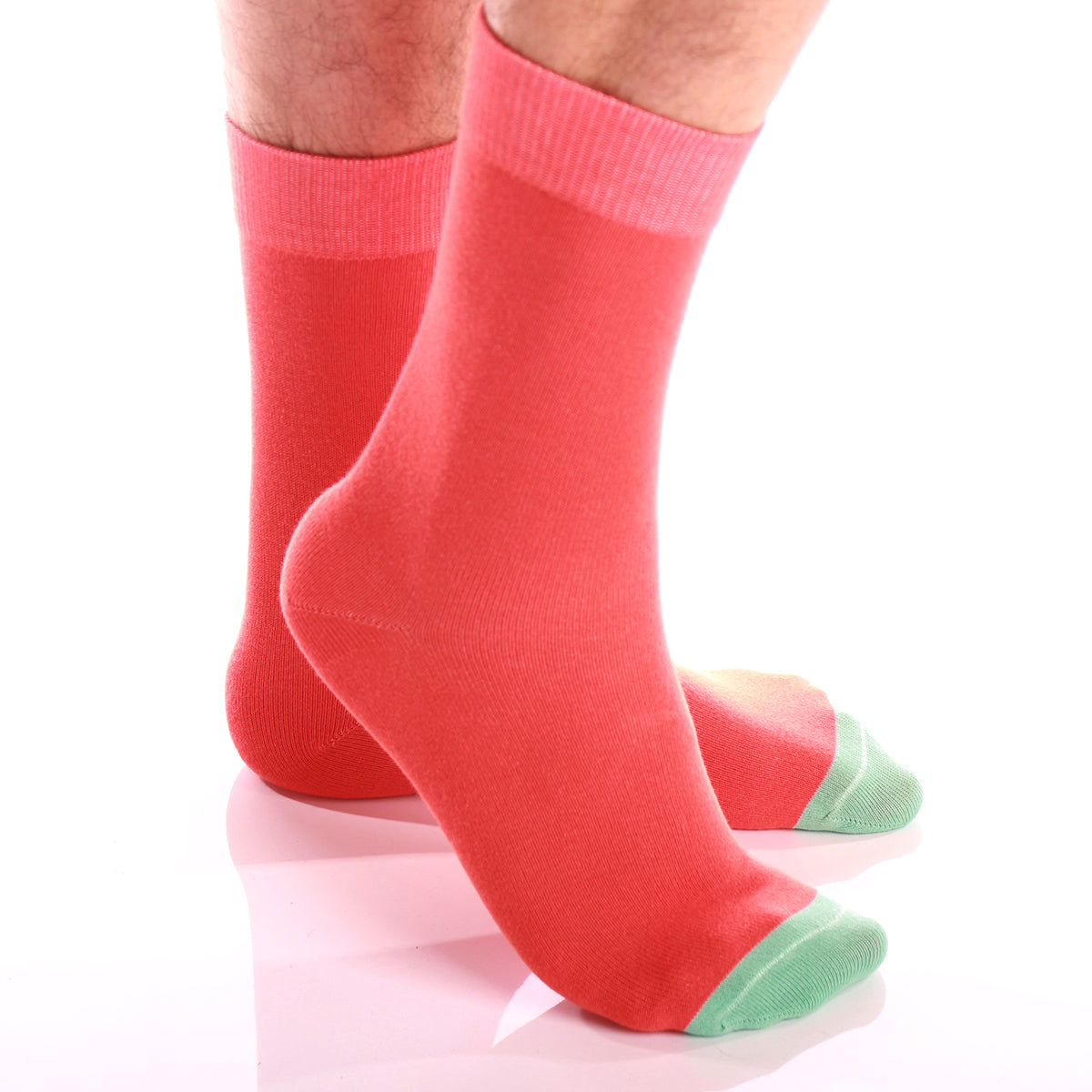 Men's Colorful Solid Orange with Light Green Socks - Amedeo Exclusive
