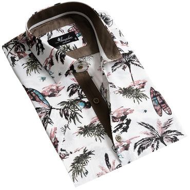 European Tailored Slim Fit Soft Cotton Men's Brown Multicolor Floral Short Sleeve Button Up Shirt - Amedeo Exclusive