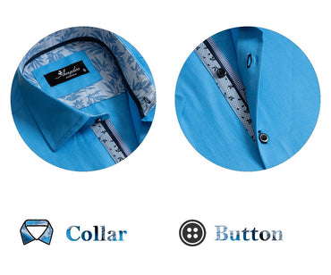 European Tailored Slim Fit Soft Cotton Men's Blue Short Sleeve Button Up Shirt - Amedeo Exclusive