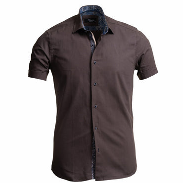 European Tailored Slim Fit Soft Cotton Men's Brown Short Sleeve Button Up Shirt - Amedeo Exclusive