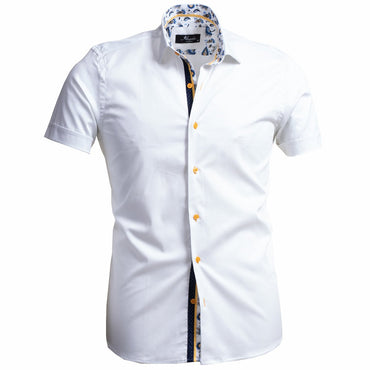Amedeo Men's Short Sleeve Button up White Shirt - Amedeo Exclusive