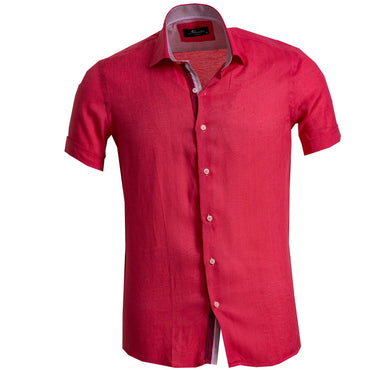 Men's Button down Tailor Fit Soft 100% Cotton Short Sleeve Dress Shirt Solid Bright Red casual And Formal - Amedeo Exclusive