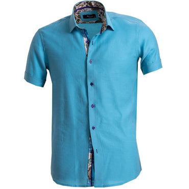 Men's Button down Tailor Fit Soft 100% Cotton Short Sleeve Dress Shirt Solid Turquoise Blue casual And Formal - Amedeo Exclusive