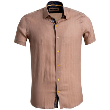 Men's Button down Tailor Fit Soft 100% Cotton Short Sleeve Dress Shirt Solid Light Brown casual And Formal - Amedeo Exclusive