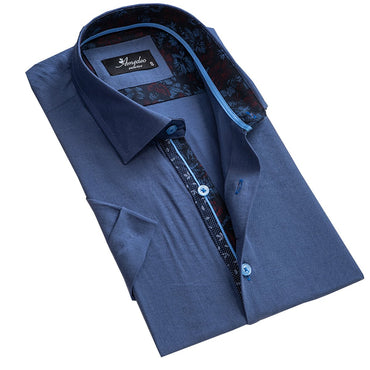 Men's Button down Tailor Fit Soft 100% Cotton Short Sleeve Dress Shirt Solid Blue casual And Formal - Amedeo Exclusive