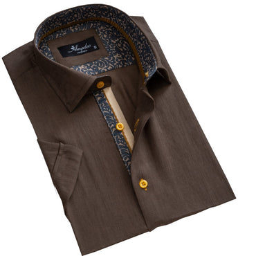 Men's Button down Tailor Fit Soft 100% Cotton Short Sleeve Dress Shirt Solid Dark Brown casual And Formal - Amedeo Exclusive
