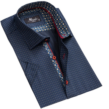 Men's Button down Tailor Fit Soft 100% Cotton Short Sleeve Dress Shirt Navy Blue Circles casual And Formal - Amedeo Exclusive