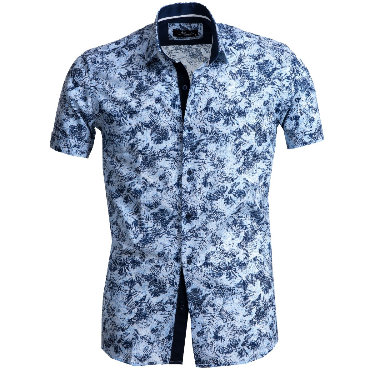 Men's Button down Tailor Fit Soft 100% Cotton Short Sleeve Dress Shirt Light Blue Floral Paisley casual And Formal - Amedeo Exclusive