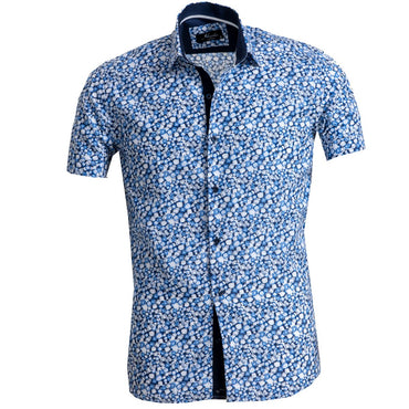 Men's Button down Tailor Fit Soft 100% Cotton Short Sleeve Dress Shirt White Blue Circles casual And Formal - Amedeo Exclusive