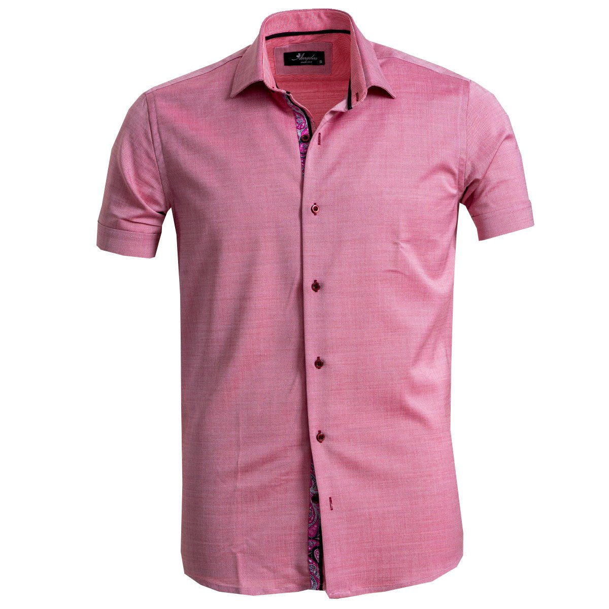 Men's Button down Tailor Fit Soft 100% Cotton Short Sleeve Dress Shirt Solid Pink Paisley casual And Formal - Amedeo Exclusive