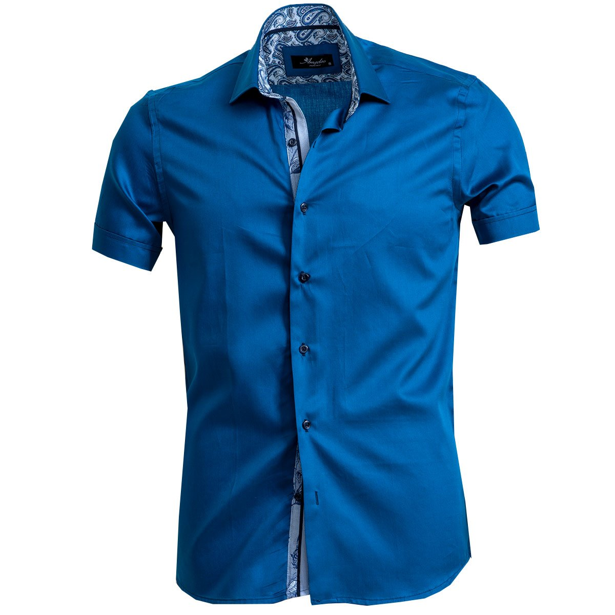 Men's Button down Tailor Fit Soft 100% Cotton Short Sleeve Dress Shirt Solid Medium Blue casual And Formal - Amedeo Exclusive