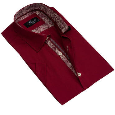 Men's Button down Tailor Fit Soft 100% Cotton Short Sleeve Dress Shirt Solid Burgundy casual And Formal - Amedeo Exclusive