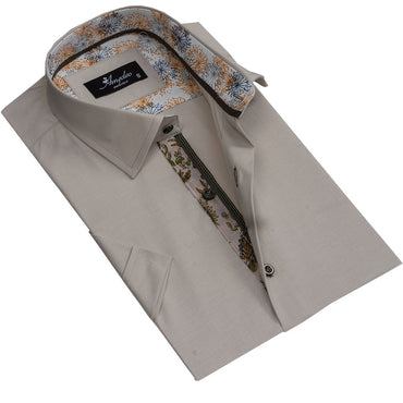 Men's Button down Tailor Fit Soft 100% Cotton Short Sleeve Dress Shirt Solid Beige casual And Formal - Amedeo Exclusive
