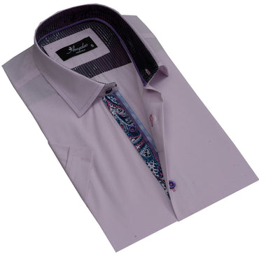 Men's Button down Tailor Fit Soft 100% Cotton Short Sleeve Dress Shirt Solid Light Purple casual And Formal - Amedeo Exclusive