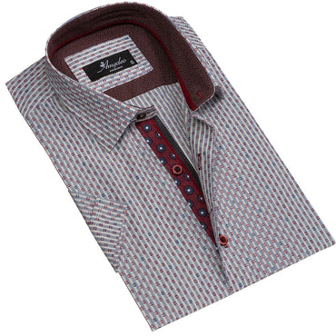 Men's Button down Tailor Fit Soft 100% Cotton Short Sleeve Dress Shirt Beige Burgundy casual And Formal - Amedeo Exclusive