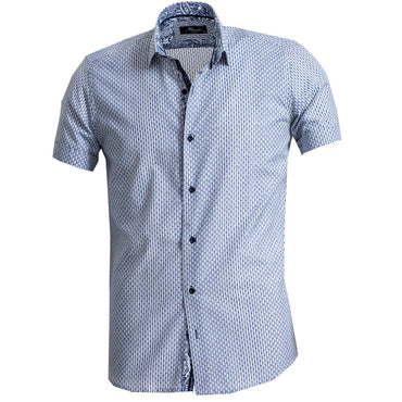 Men's Button down Tailor Fit Soft 100% Cotton Short Sleeve Dress Shirt Blue Grey casual And Formal - Amedeo Exclusive