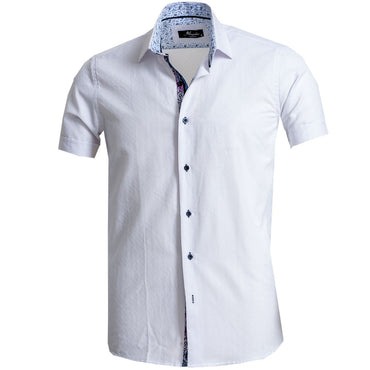 Men's Button down Tailor Fit Soft 100% Cotton Short Sleeve Dress Shirt Solid White casual And Formal - Amedeo Exclusive