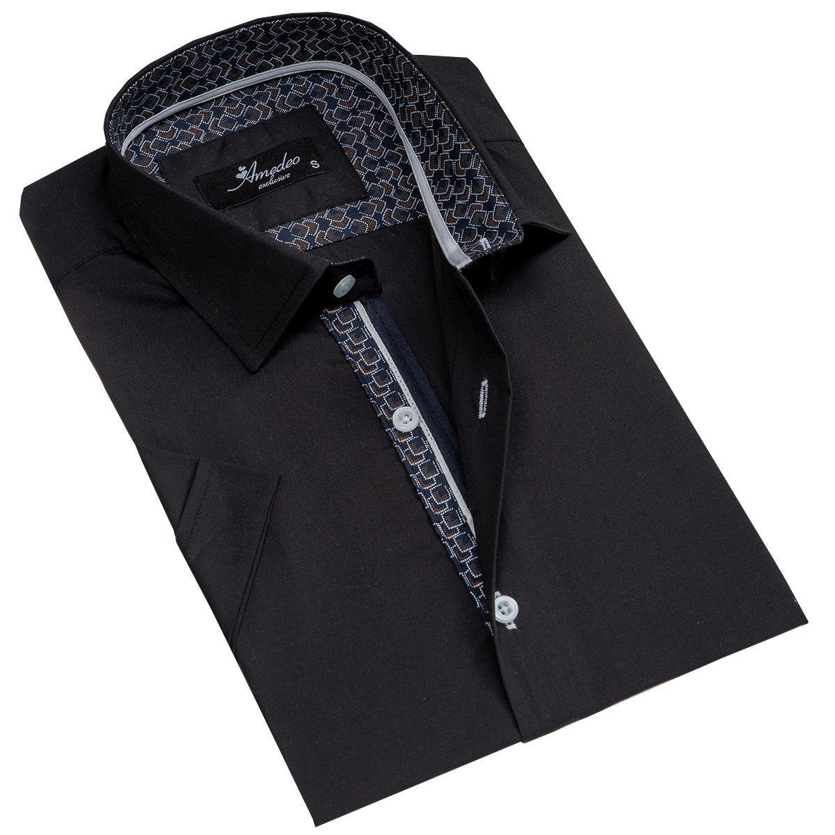 Men's Button down Tailor Fit Soft 100% Cotton Short Sleeve Dress Shirt Solid Black casual And Formal - Amedeo Exclusive