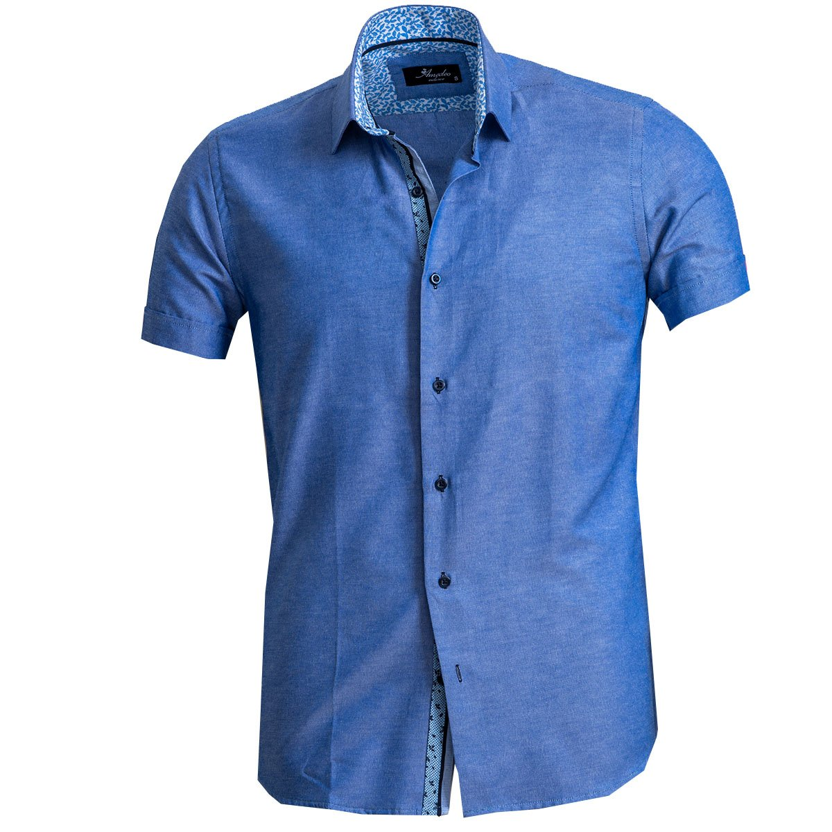 Men's Button down Tailor Fit Soft 100% Cotton Short Sleeve Dress Shirt Denim Blue casual And Formal - Amedeo Exclusive