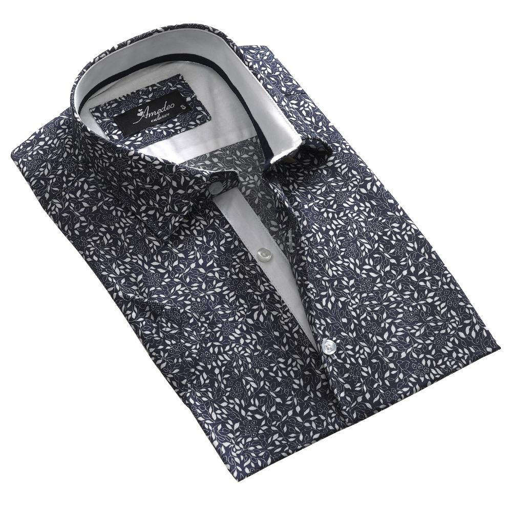 Men's Button down Tailor Fit Soft 100% Cotton Short Sleeve Dress Shirt Dark Grey Floral casual And Formal