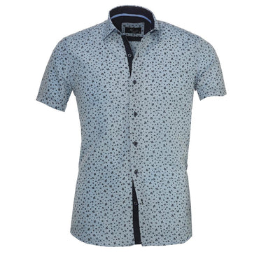 Men's Button down Tailor Fit Soft 100% Cotton Short Sleeve Dress Shirt Light Blue Floral casual And Formal