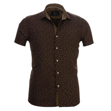 Men's Button down Tailor Fit Soft 100% Cotton Short Sleeve Dress Shirt Chocolate Brown Floral casual And Formal