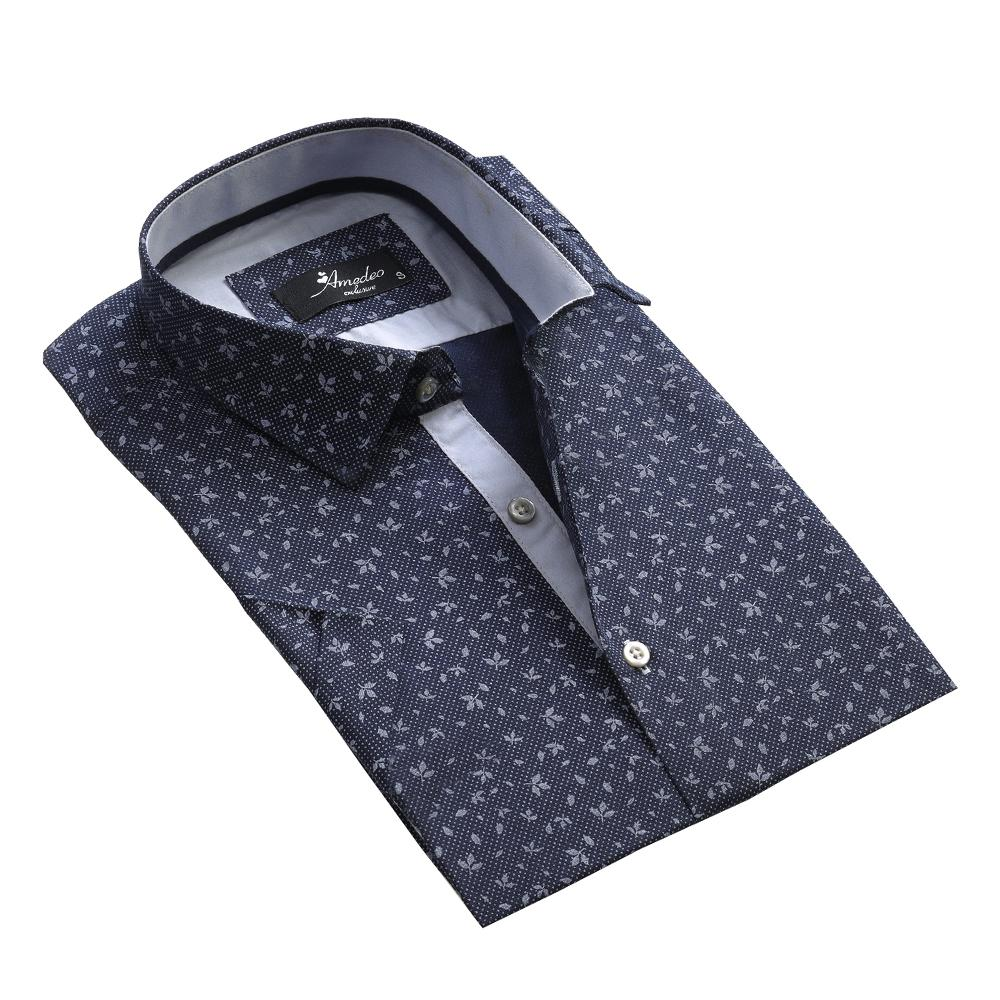Men's Button down Tailor Fit Soft 100% Cotton Short Sleeve Dress Shirt Blue Dotted Floral casual And Formal - Amedeo Exclusive